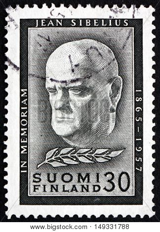 FINLAND - CIRCA 1957: a stamp printed in Finland shows Jean Sibelius Finnish Composer and Violinist circa 1957