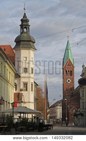 City castle museum and Franciscan church in Maribor Slovenia