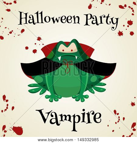 Halloween green toads fashion costume outfits. Vampire halloween party background. Cartoon style vector illustration isolated on white background
