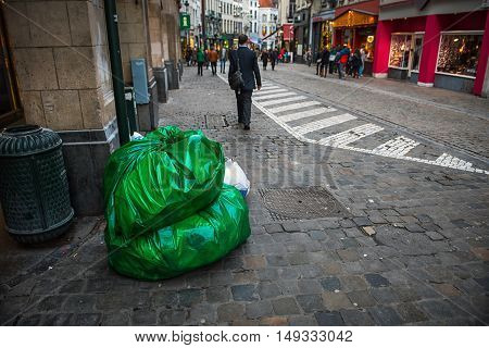 Garbage bag on the road at brussles central road