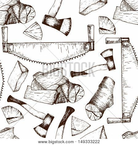 Vector seamless pattern of timber working tools. Saw axe firewoods. Vintage sketched engravred style. Good for package store design. Hipster trendy Lumberjack collection.