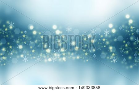 Beautiful blue winter blurred background. Snowflakes flying in the air. Snowflakes, winter, New Year, Christmas theme. Snow, christmas, snowflake background, snowflake winter. Silver, gold snowflake.