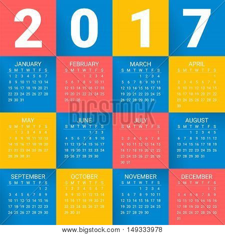 Calendar for 2017 Year on bright colorful background. Week starts from sunday. Modern Creative Vector Design Print Template. Holiday vector illustration. Paper layers. Corporate business layout.