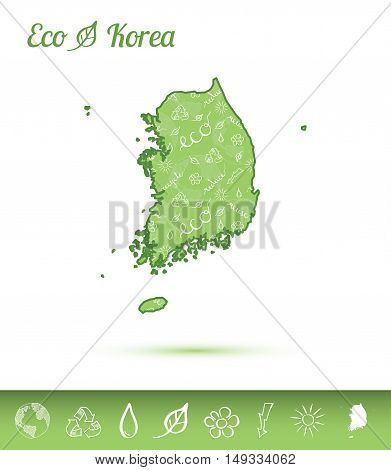 Korea, Republic Of Eco Map Filled With Green Pattern. Green Counrty Map With Ecology Concept Design
