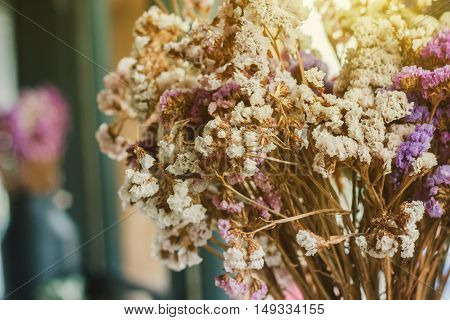 Close up artificial colorful flowers for decoration