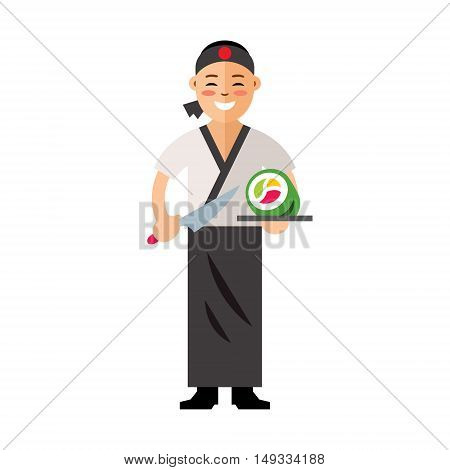 Cook with knife and tray of food. Isolated on a white background