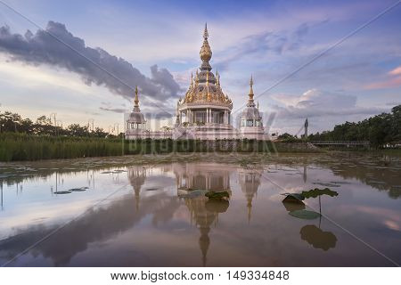Buddha temple in lotus lagoon of Thailand