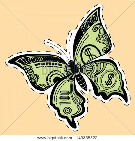 Butterfly dollar bill label sticker, pop art retro vector illustration. Money and Finance