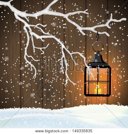 Christmas motive, vintage shining lantern hanging on dry branch in front of brown wooden wall, vector illustration, eps 10 with transparency nad gradient meshes