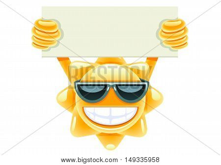 Happy sun with empty paper on white background