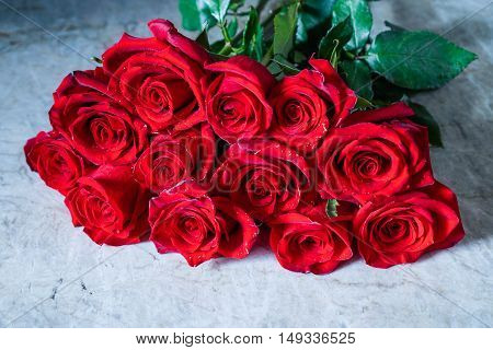 Dozen Red Roses / Proposal/ Selective focus