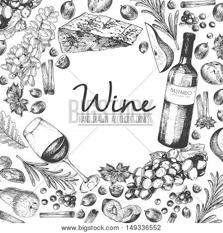 Vector hand drawn illustration of wine and apetizers. Round border composition. Grape cheeze rosemary spices botte and wineglass. For restaurant menu invitation greeting holiday store design