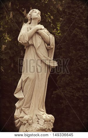 Statue of Virgin Mary as a symbol of love and kindness (Retro styled)