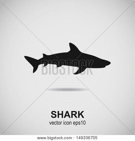 Shark icon. Dogfish black silhouette. Vector illustration.