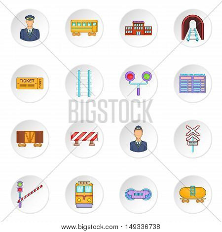 Railway icons set in cartoon style. Rail transportation set collection vector illustration