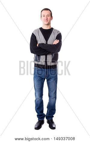 Full Length Portrat Of Handsome Middle Aged Man Isolated On White