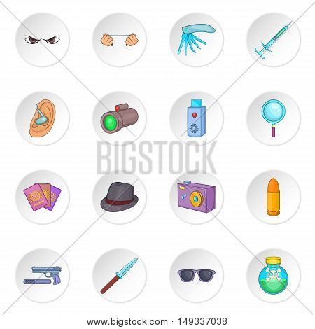 Spy and security icons set in cartoon style. Detective equipment set collection vector illustration