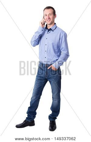 Full Length Portrait Of Middle Aged Business Man Calling On Mobile Phone Isolated On White