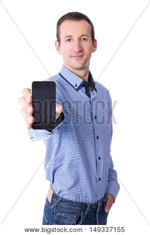 Middle Aged Man Showing Smart Phone With Blank Screen Isolated On White