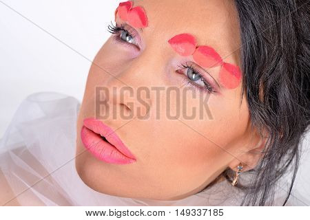 beautiful young fashion nude model with pink makeup