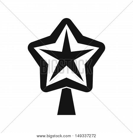 Star for christmass tree icon in simple style on a white background vector illustration