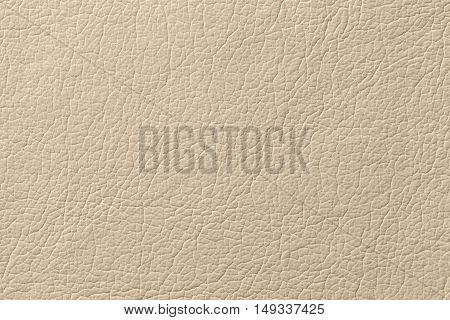 Light beige leather texture background with pattern closeup.