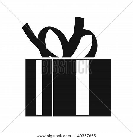Gift box with ribbon icon in simple style on a white background vector illustration
