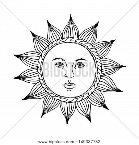 Hand drawn sun with face and eyes. Alchemy, medieval, occult, mystic symbol of sun. Vector  illustration for coloring book.
