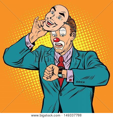 The clown looks at his watch, pop art retro vector illustration. Fake face