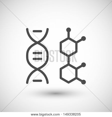 DNA molecule icon isolated on grey. Vector illustration