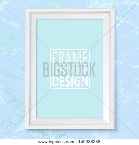 Frame Blue Grunge Wall Mock Up Vector White