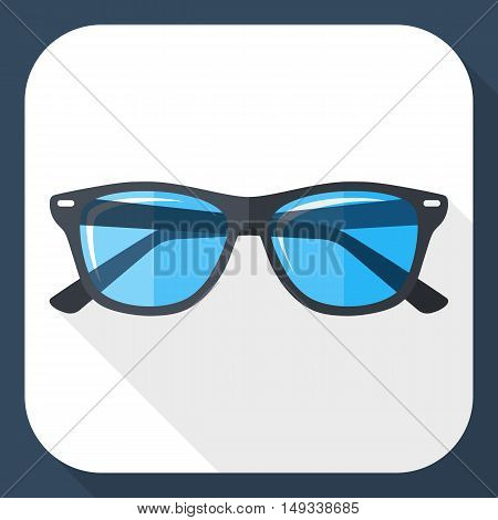 Vector Glasses Simple Icon In Flat Style With Long Shadow