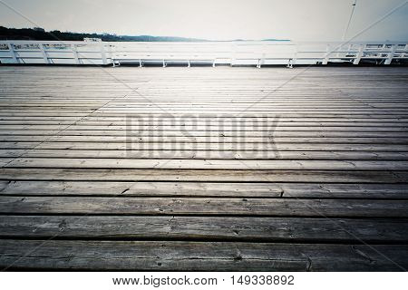 Wooden pier in Sopot Poland. Jetty on the water. Baltyk sea.