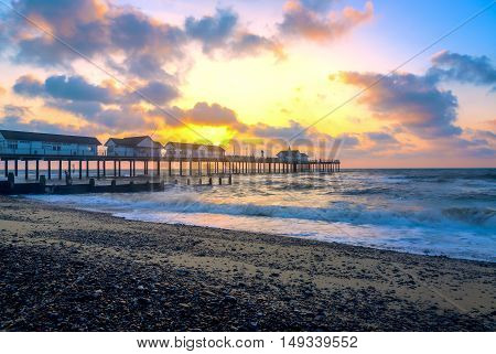 Sunrise at Southwold Pier in Suffolk, UK