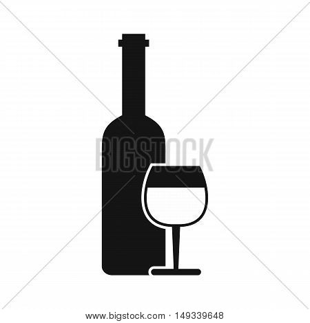 Wine bottle and glass icon in simple style on a white background vector illustration