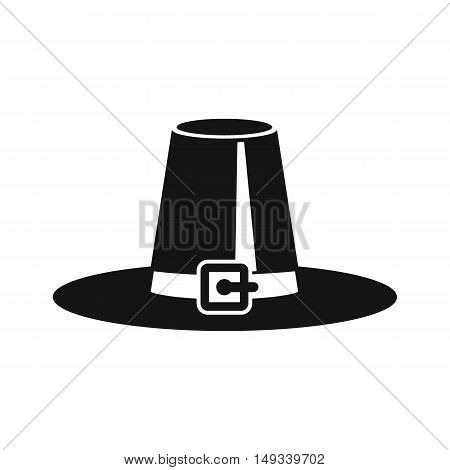 Pilgrim hat icon in simple style on a white background vector illustration
