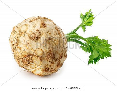 Fresh celery root with leaf isolated on white background horizontal photo. Celery isolated on white. Healthy food