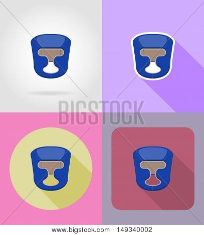 boxing helmet flat icons vector illustration isolated on background