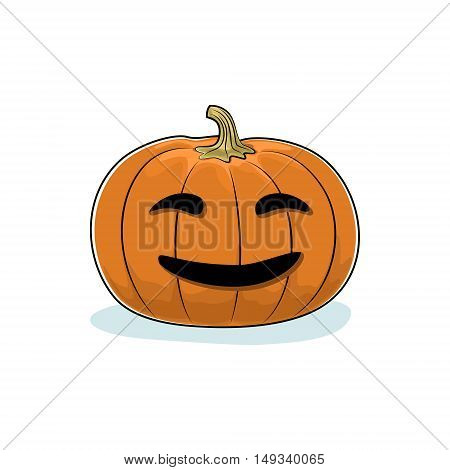 Carved Smiling Scary Halloween Pumpkin, a Jack-o-Lantern on White Background, Vector Illustration