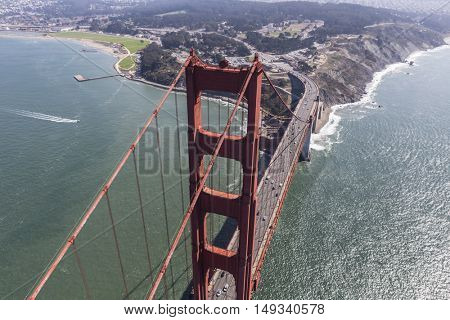 San Francisco, California, USA - September 19, 2016:  Afternoon aerial view of the Golden Gate Bridge and Highway 101 in San Francisco, California.