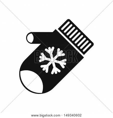 Mitten with snowflake icon in simple style on a white background vector illustration