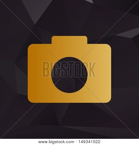 Digital Camera Sign. Golden Style On Background With Polygons.