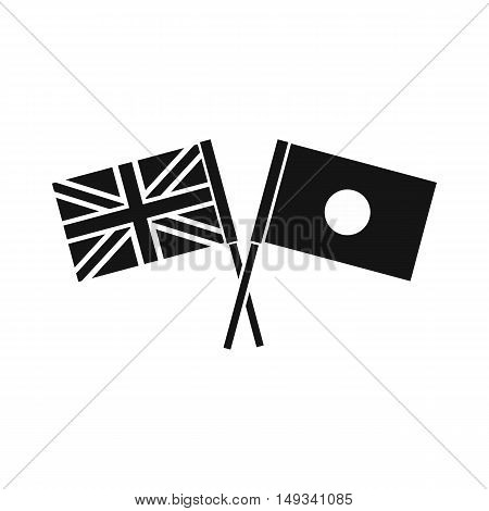 UK and Japan flags crossed icon in simple style on a white background vector illustration