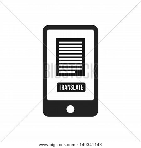 Translate application on a smartphone icon in simple style on a white background vector illustration