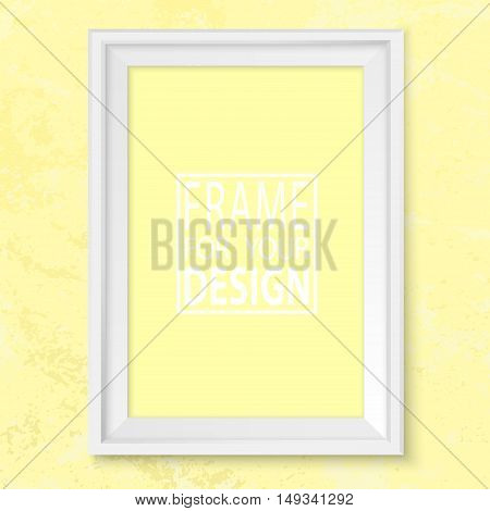 Frame Yellow Grunge Wall Mock Up Vector White