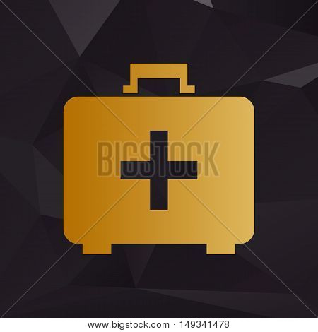 Medical First Aid Box Sign. Golden Style On Background With Polygons.