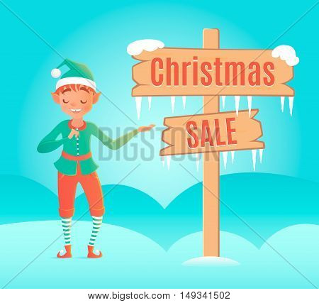 Cute Little Elf Standing Near Wooden Signboard With Text Sale. Vector Design Template