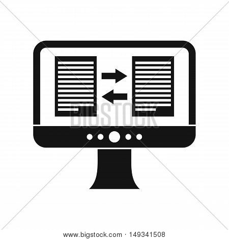 Translator app on the screen of computer icon in simple style on a white background vector illustration
