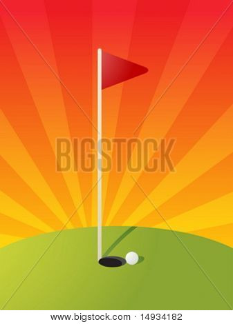 Golf illustration with hole flag on greens