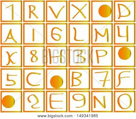 Numbers and letters in squares with a gradient. Golden and yellow